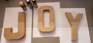 JOY cardboard letters