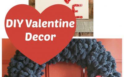 DIY Valentine Decor Yarn and Buttons