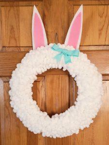 bunny yarn wreath