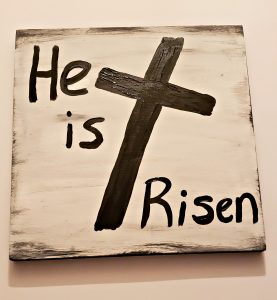 he is risen wood canvas