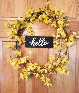 hello forsythia wreath