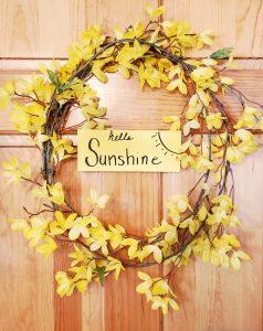 sunshine yellow forsythia wreath