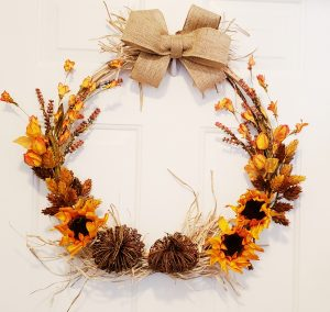 Fall hoop wreath orange