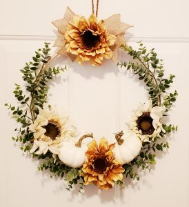 Fall hoop wreath white pumpkins