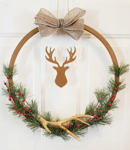 bronze deer wreath