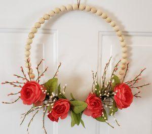white door wreath beaded