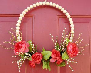 spring beaded wire wreath red door