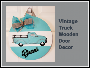 Vintage Truck Wooden Door Decor