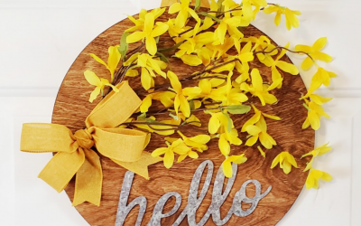Hello Door Sign with Forsythia