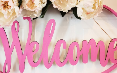 Easy to Make Pink Welcome Wreath